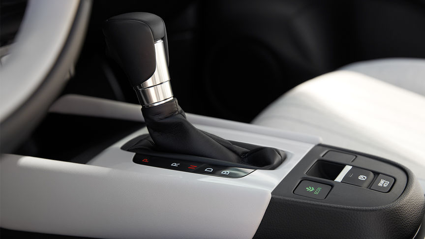 Honda Jazz e:HEV technology automation gear stick console, side view close up