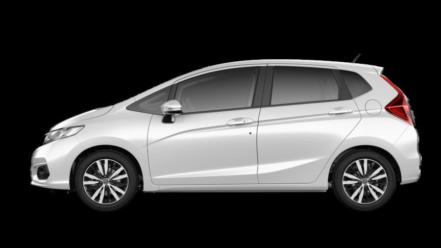 Bočný pohľad na vozidlo Honda Jazz vperleťovej bielej farbe Platinum White Pearl.