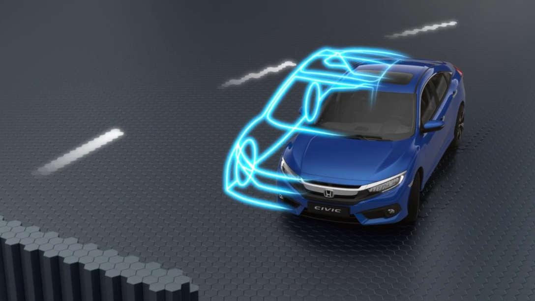 Trojštvrťový pohľad spredu na vozidlo Honda Civic Sedan sgrafikou ilustrujúcou výkon.