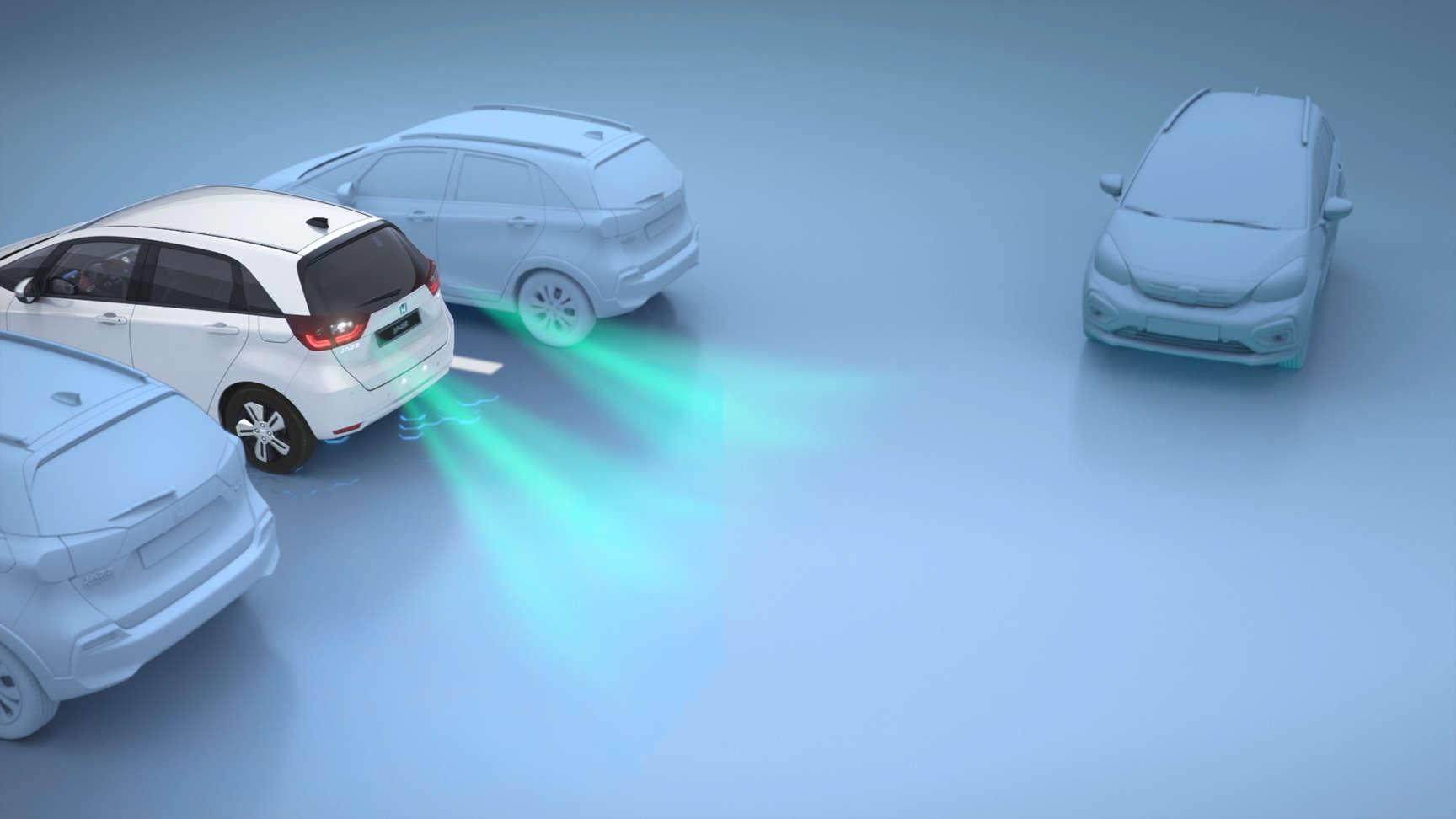 Zobrazenie varovných symbolov pri cúvaní vozidla Honda