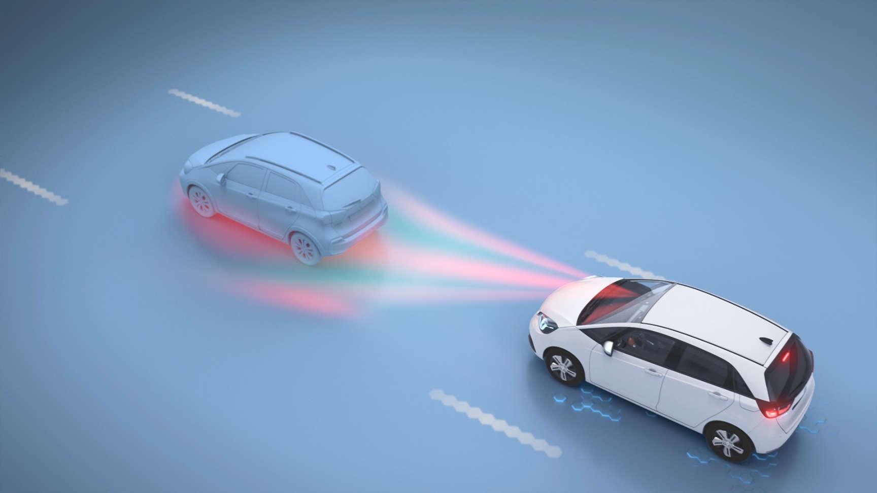 Vozidlo Honda idúce za ďalším vozidlom so znázornením signálu detekcie v rámci predchádzania kolíziám