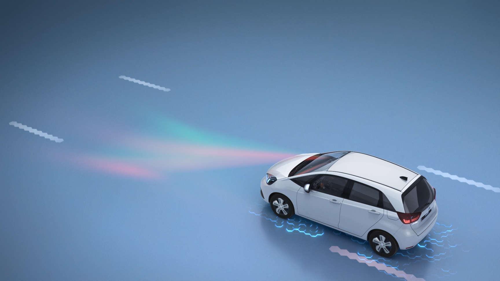 Pohľad spredu na prechádzajúci model Honda CR-V znázorňujúci prevenciu opustenia vozovky