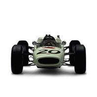Pohľad spredu na pretekársky automobil Honda Formula One.