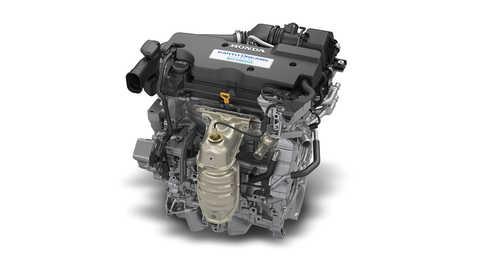 Detailný záber na motor VTEC s Atkinsonovým cyklom hybridného systému Honda.