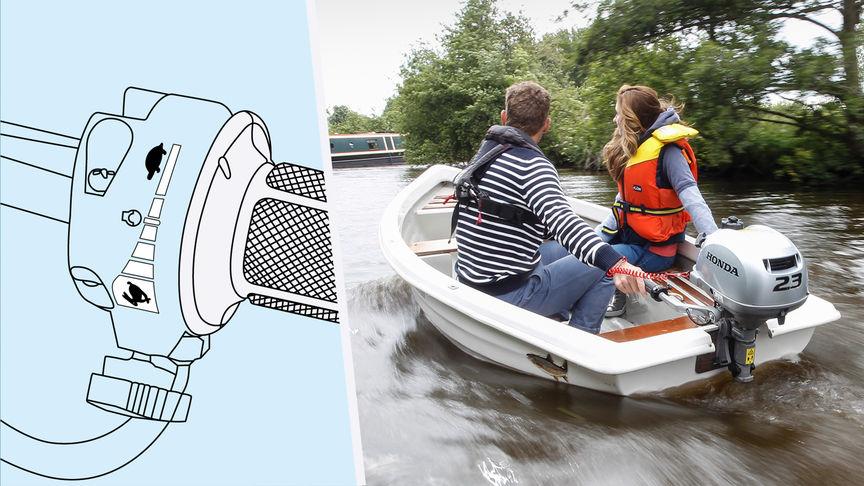 Dvaja ľudia v člne ovládajúci škrtiacu klapku motora BF2.3