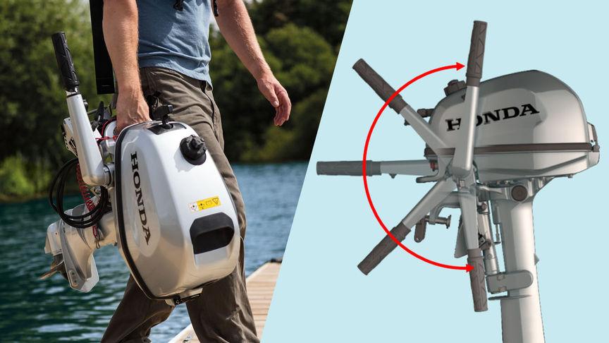 Vľavo: používateľ nesie motor, vpravo: ilustrácia so znázornením rôznych polôh ovládacej páky.