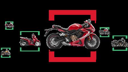 Kombinácia bočných snímok rôznych motocyklov Honda