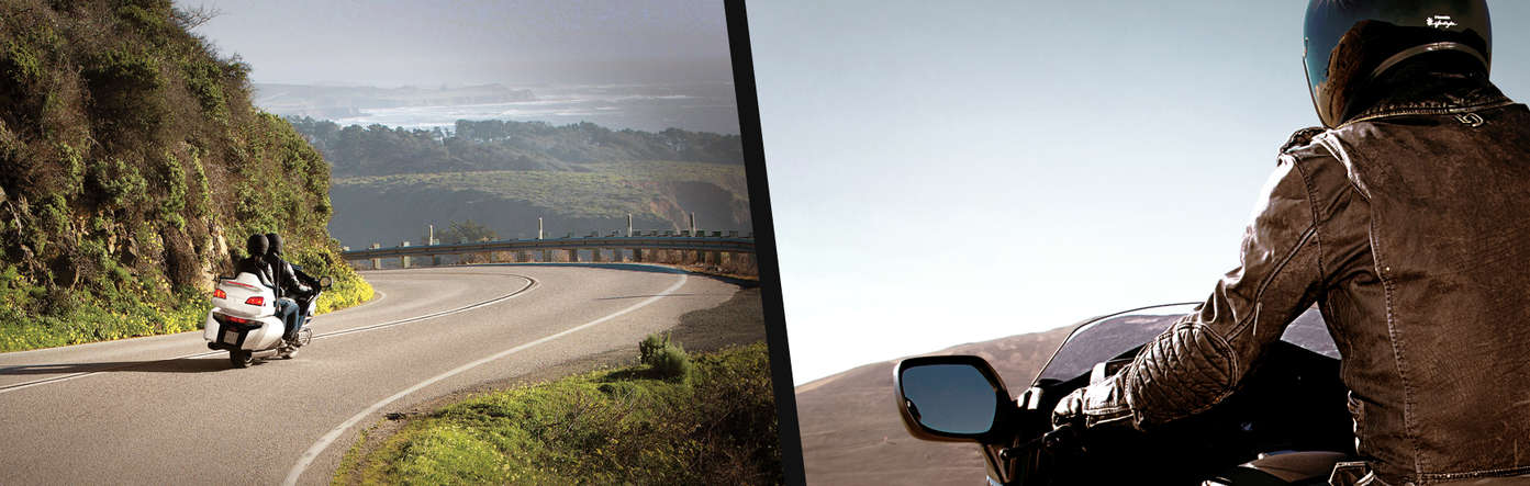 Split image showing a Honda Gold Wing on road location to the left, and a close up of a rider to the right.
