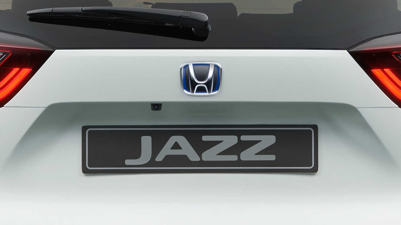 Close up of Honda Jazz Hybrid parking aid camera